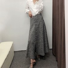 Women Tweed Skirt High Waist A-Line Long Plaid Autumn Vintage Split Houndstooth Skirts
