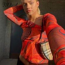 LFDD 2021 Cravate Teinture Impression Manches Longues Haut Court Femmes Y2K DÉCONTRACTÉ Printemps été Esthétique Harajuku Découpé Orange T-shirts Sexy 90S