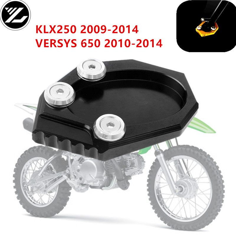 Side Kickstand Foot Stand Extension Plate Pad For Kawasaki KLX250 2009-2014 2015