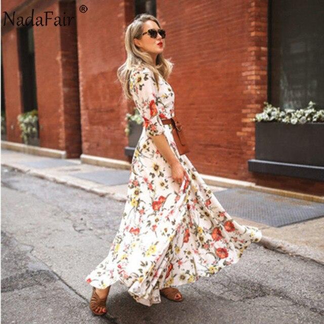 Nadafair Boho Floral Maxi Dress Woman Plus Size High Waist O Neck Printed Elegant Summer Beach Long Dresses Female Vestidos 3