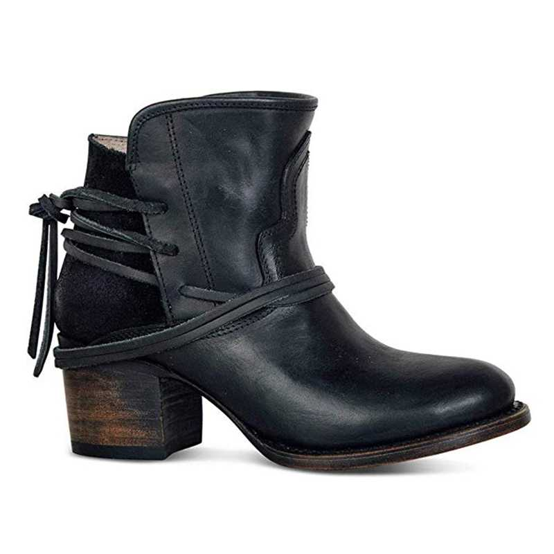 WENYUJH Fashion Autumn Women Boots Mid Heels Shoes Female Rivet Buckle Daily Shoes Short Boots PU Leather Ankle Boots