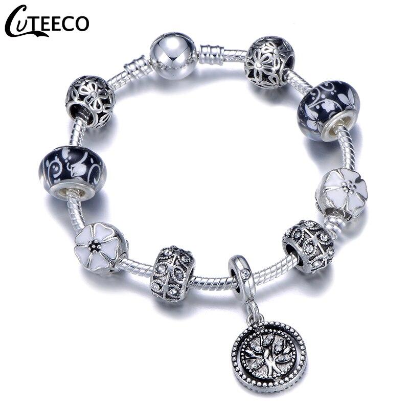 CUTEECO 925, модный серебряный браслет с шармами, браслет для женщин, Хрустальный цветок, сказочный шарик, подходит для брендовых браслетов, ювелирные изделия, браслеты - Окраска металла: AJ3178