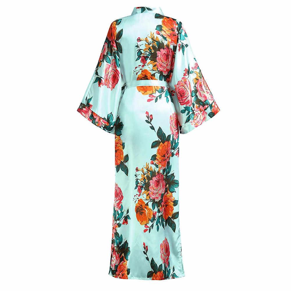 Raso Fiore Della Stampa Kimono Accappatoio Abito Per Le Donne Mezza Manica Casa Spogliatoio Abito Con Cintura Degli Indumenti Da Notte A Casa Camicia Da Notte