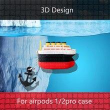 3d airpod чехол s pro Чехол роскошный дизайн яхты bluetooth