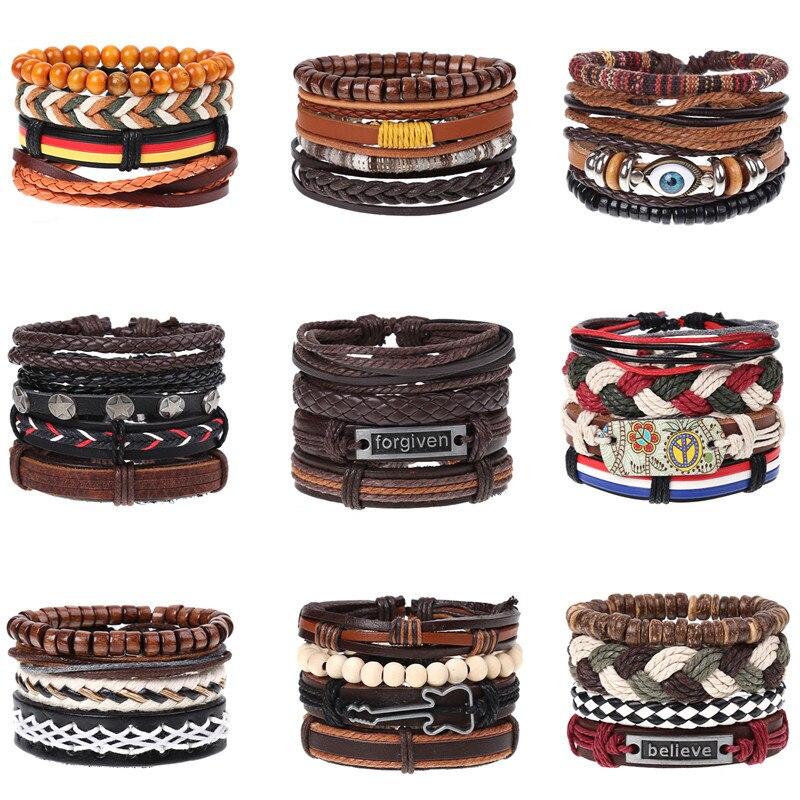 CIBOCIBO Punk Bracelet Men 2019 Bohemia Leather Wristband Bracelet Men Braided Fashion Luxury Vintage Pulsera Hombre Men Gifts