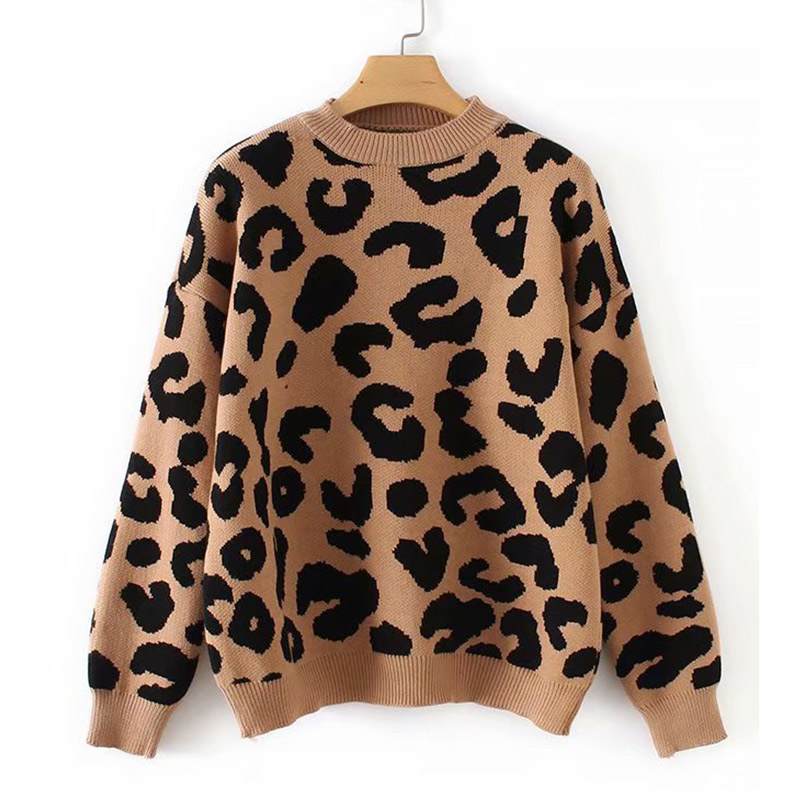 Woman Leopard Knitted Sweater Winter Thick Long Sleeve Female Pullovers 2020 Autumn Fashion Casual Tops Knitting Sweaters Ladies