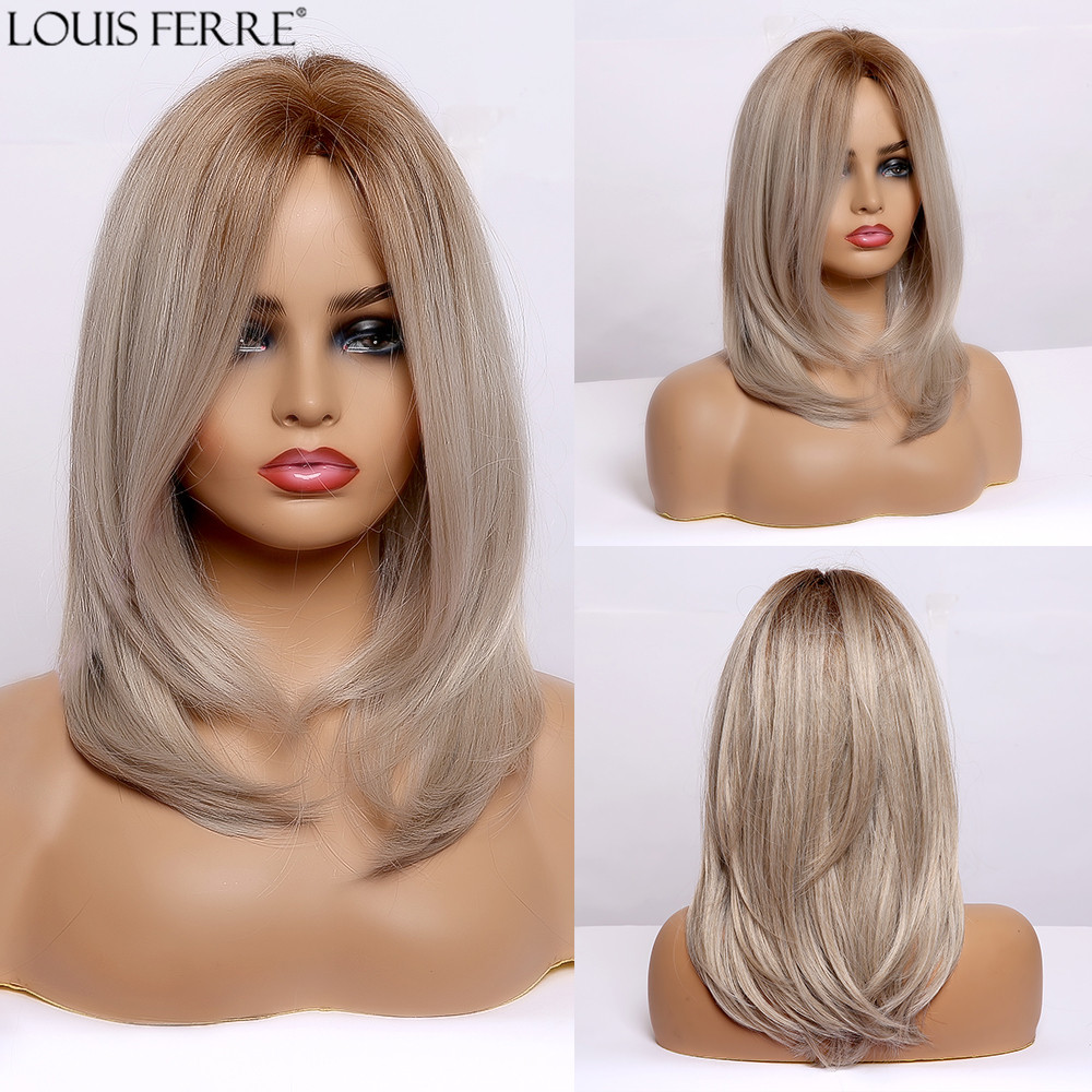 LOUIS FERRE Ombre Brown Ash Blonde Golden Synthetic Wig For Women Mediun Straight Middle Part Cosplay Layered Wig Heat Resistant