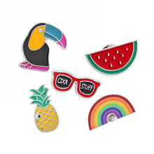 Pins and brooches Southwest Cowboy Guitar Mexican cactus Pineapple Watermelon Sunglasses Rainbow Enamel pins Badges pineapple and watermelon print tee