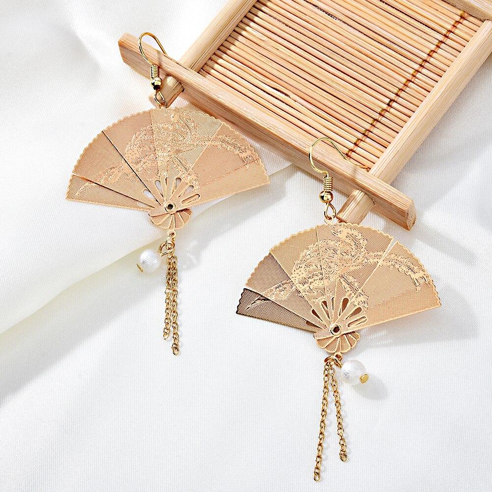 Earrings for women Chinese Style Tassel Earrings Golden Pearl Fan Ring Dangle Hanging Drop Pendientes Female Accessories Jewelry(China)