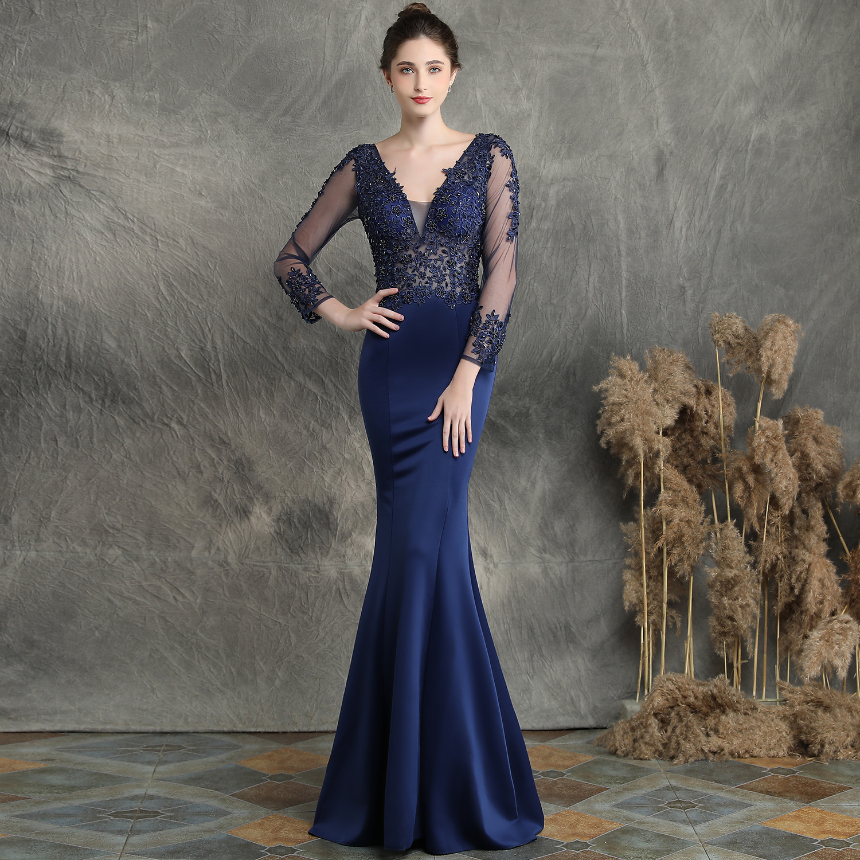 US $18.18 18% OFFWome Mermaid Long V Neck Prom Evening Dresses Long Sleeves  Robe De Soiree Formal Dress Abendkleider Lang Elegant Gown 163187Evening