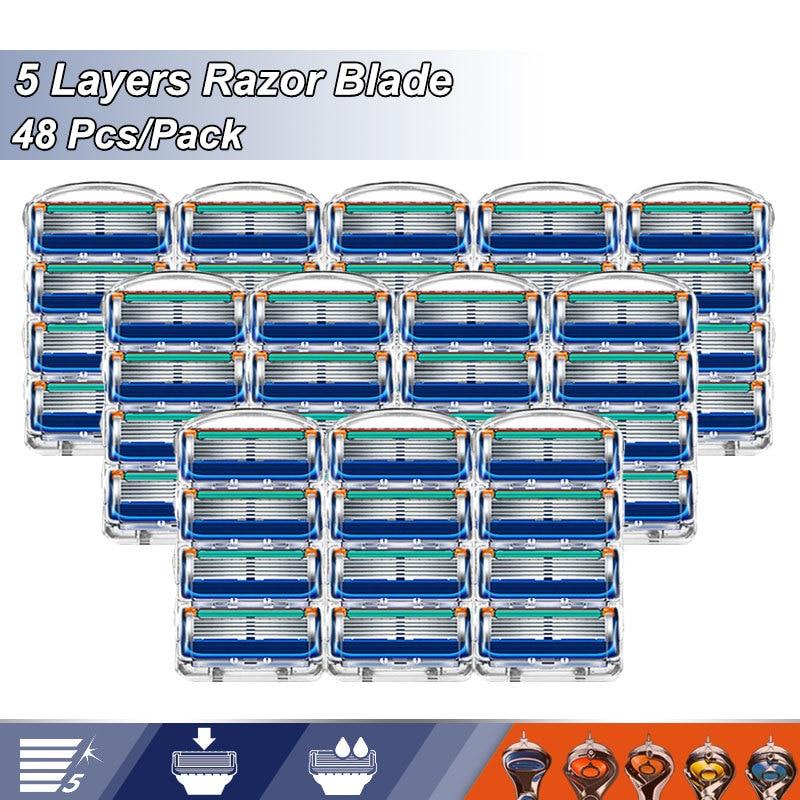 5 слой лезвие бритвы сменные головки подходят Gillette Fusion 5 Proglide Proshield Прямые бритвенные лезвия для бритвы ценность для заправки зажигалок