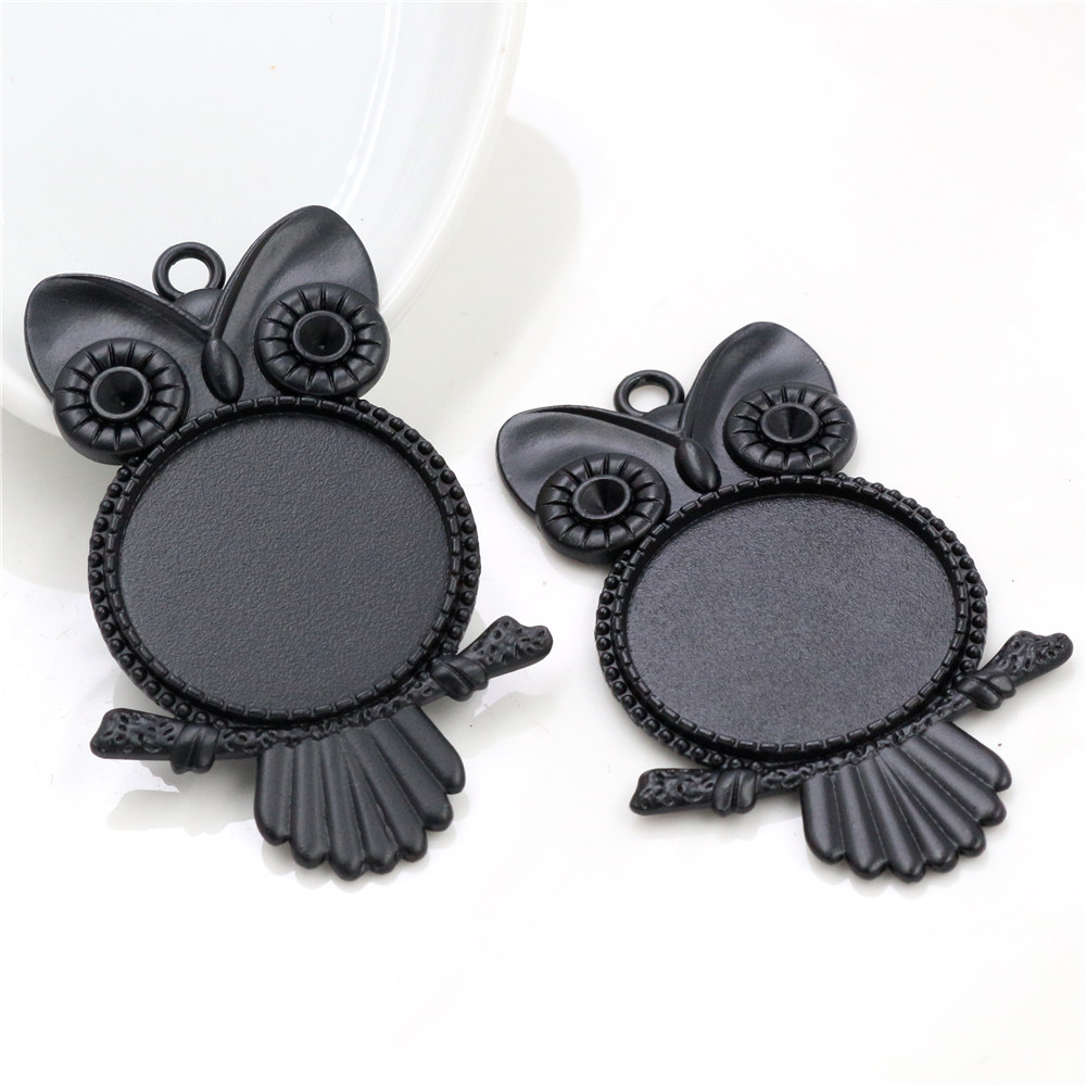 New Fashion 5pcs 25mm Inner Size Black Owl Style Cabochon Base Setting Charms Pendant (A6-23)