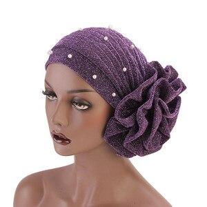Image 4 - Women Glitter Beaded Hijabs Turban Big Elastic Headwear Wedding Party Pleated Wrap Hair Loss Cap Muslim Hair Accessories