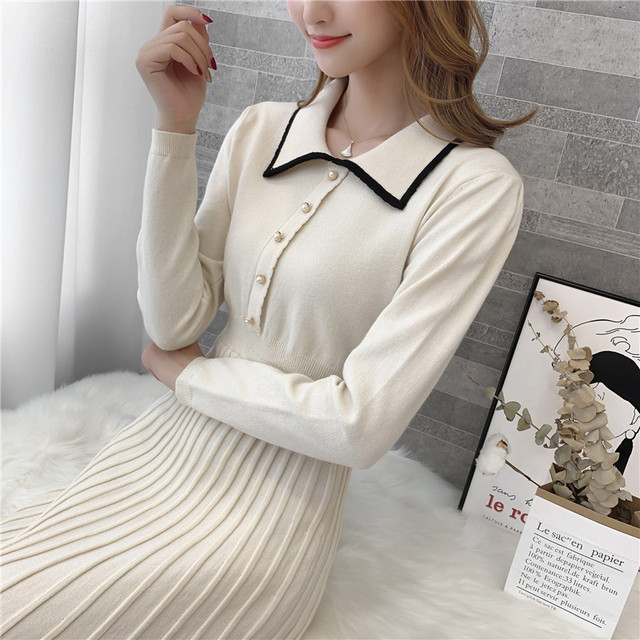 9308 actual photo of new knitted square collar woolen dress female slim 75 -- 1 / F, 7 rows, 2 shelves 8