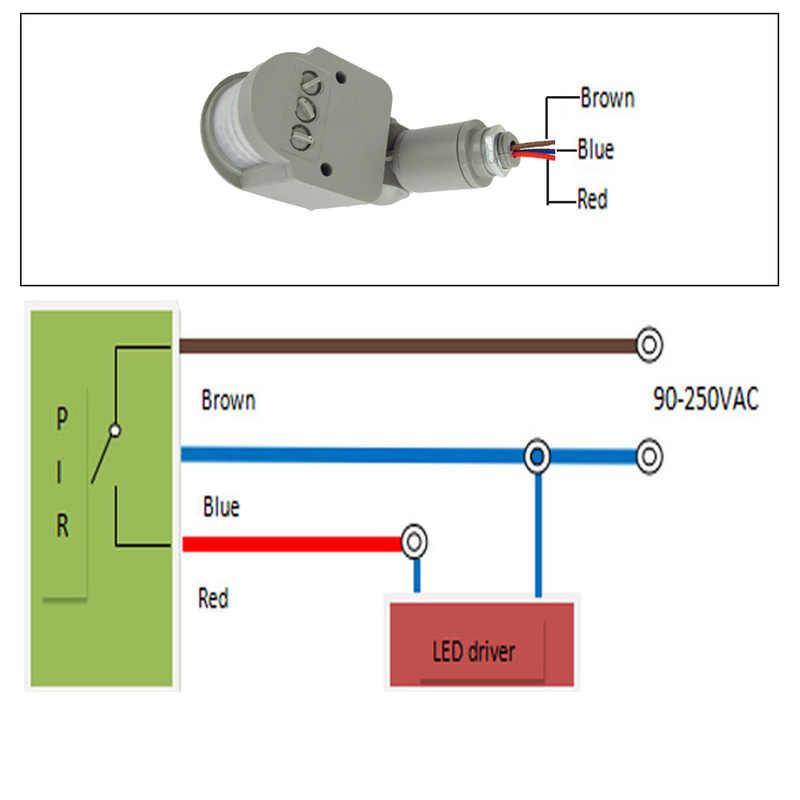 140 זווית Motion חיישן אור מתג חיצוני 10m AC 220V אוטומטי אינפרא אדום PIR Motion חיישן עם LED אור עומס כוח 100W