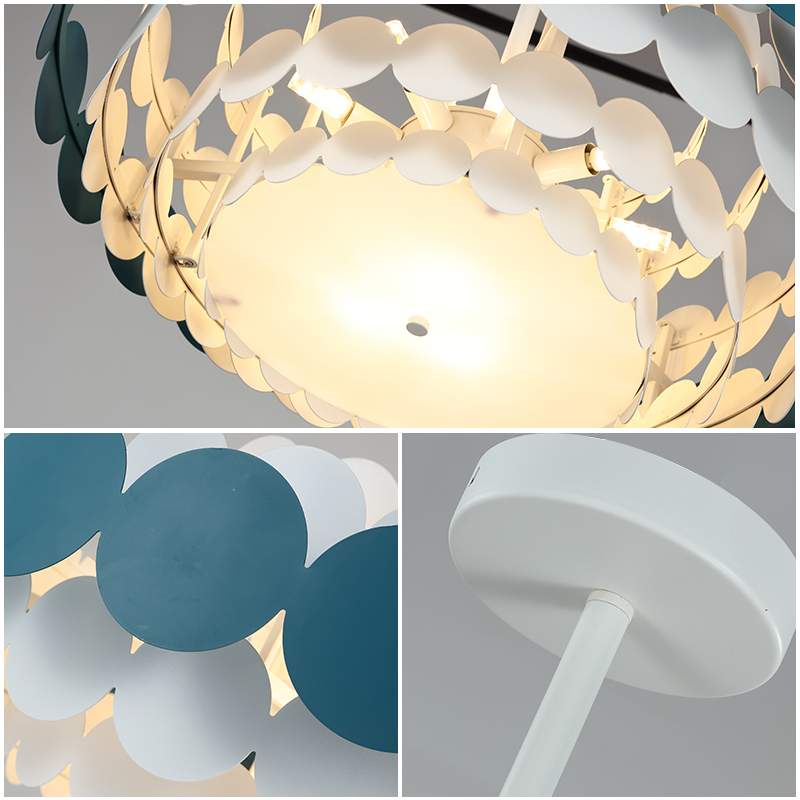 Купить с кэшбэком Nordic creative color metal paint acryli disc Pendant lamp modern children's bedroom decoration LEDlighting hanging pipe fixture