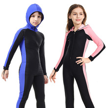 SBART Childrens Full Body Diving Suit Hooded Surf Snorkeling Swimming Long sleeved Swimsuit Boy Girl One piece UV Diving Suit H