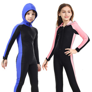 Image 1 - SBART traje de buceo de cuerpo completo para niños, Surf con capucha, esnórquel, natación de manga larga, traje de baño de una pieza para niño y niña, traje de buceo UV H
