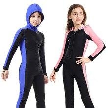 SBART الأطفال بدلة غطس كامل الجسم مقنعين تصفح الغوص السباحة بأكمام طويلة ملابس السباحة صبي فتاة قطعة واحدة UV بدلة غطس H