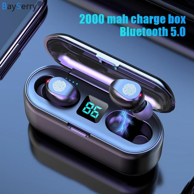 Auriculares TWS 5,0 inalámbricos por Bluetooth, auriculares estéreo deportivos para música, auriculares con cargador de batería LED de 2000mAh para iPhone, Samsung S9