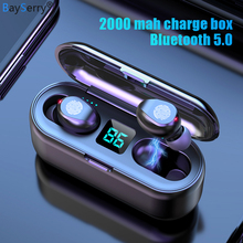 Tws 5.0 bluetoothワイヤレスヘッドフォンステレオスポーツ音楽ワイヤレスイヤホンヘッドセット2000 led電源銀行iphoneサムスンS9