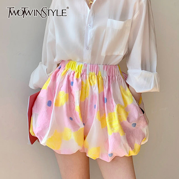 TWOTWINSTYLE Casual Print Women Shorts Skirts High Waist Hit Color Puffy Short Pants For Female Clothes Summer Fashion 2020 Tide
