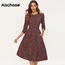 Aachoae Printed Dress For Women 2020 Vintage Three Quarter Sleeve Draped Dress Autumn Round Neck A-line Midi Dresses Vestido