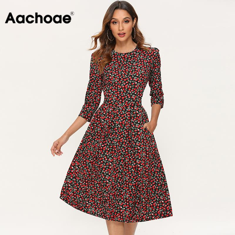 Printed Dress For Women 2020 Vintage Elegant Three Quarter Sleeve Draped Dress Atumn Round Neck A-line Midi Dresses Vestido