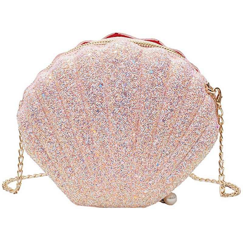 Women Girls Little Mermaid Seashell Purse Cross-Body Shoulder Bags Glitter Sequins Chain Evening Purse