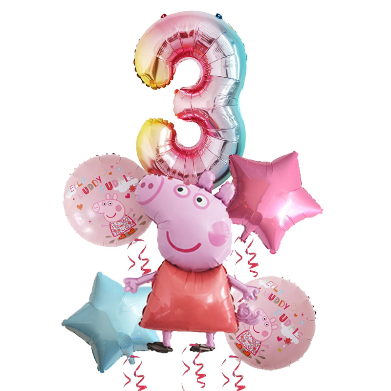6pcs Peppa Pig Colorful George Balloon For Birthday Party Decorations 1