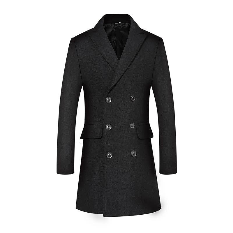 Tops Men's, New Style Woolen Coat Men's, Mid-length Fold-down Collar Duffle Coat Men's, Double Breasted Duffle Coat Men's
