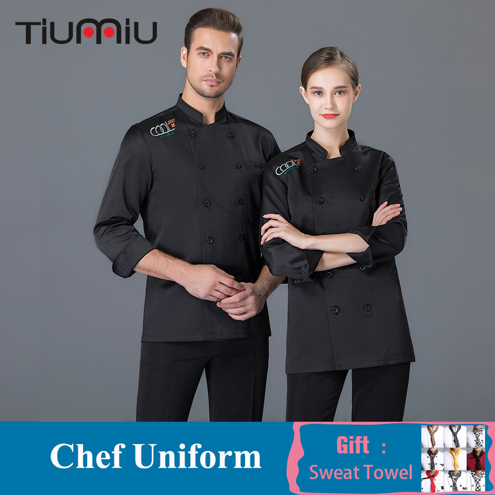 Double-breasted Long Sleeve Chef Jacket Waiter Uniform Men Women Food Service Hotel Bakery Barber Catering Cook Overalls