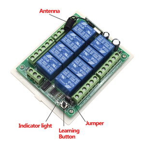 Image 4 - DC 12V 8CH channel RF Wireless Remote Control Switch & Remote Control System receiver + transmitter 8CH Relay 433MHz