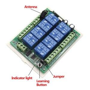 Image 5 - Transmisor receptor de sistema de Control remoto, interruptor de mando inalámbrico de radiofrecuencia de 12V, 24V CC, 8 canales, 8 botones, 433MHz, 8 canales