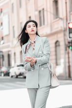 JRHYME Elegant Women Long Sleeves Notch Lapel Blazer Pencil Pants,Autumn Spring Casual Fashion Lady 2 Pieces Set In Fruit Green недорого