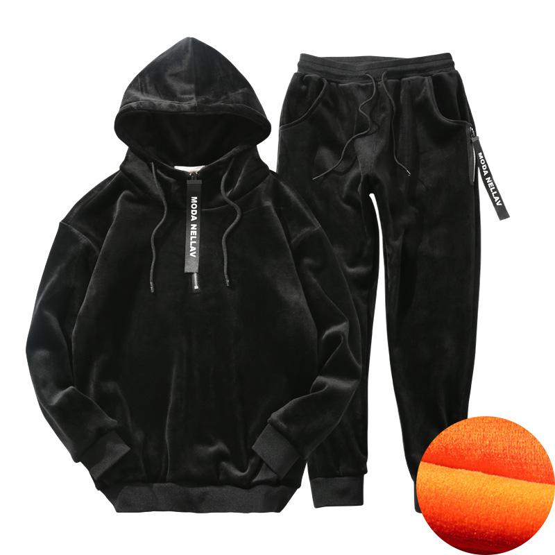 HCXY 2019 Men's Winter Hoody Suit Men Hooded Sweatshirts Gold Velvet Double Fleece Men Sweatshirt + Sweatpants Male Thicken Warm