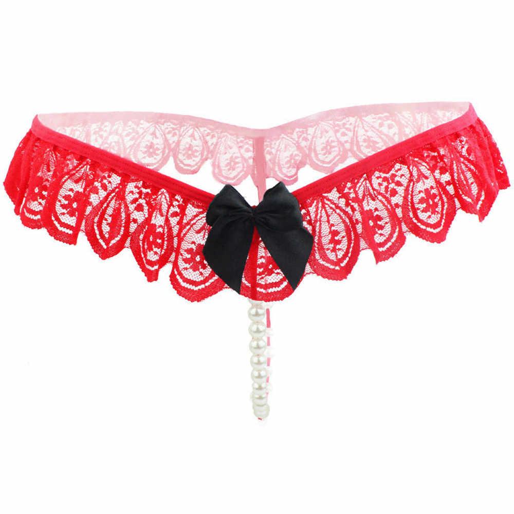 Culotte sexy pour les femmes Sexy dentelle G String sous-vêtements perles tongs femmes Lntimates caleçons