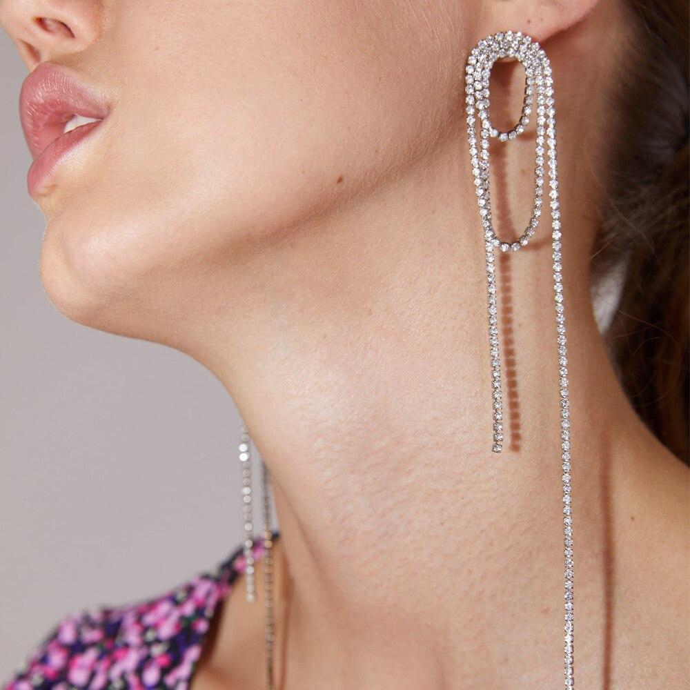 Wholesale JUJIA ZA Fashion Rhinestone Tassel Earrings 2020 New Designs Wedding Dangle Long Earrings For Women Party Accessory
