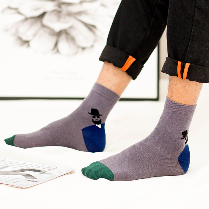Men's socks cotton fashion personality autumn and winter thick men's cotton socks in the tube socks to keep warm cotton socks sh