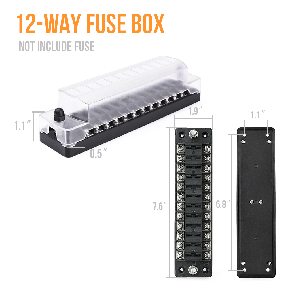6way with Negative Electrode Blade Fuse Block with Cover Fuse Box Holder Device Name Tag for Vehicle Boat Marine
