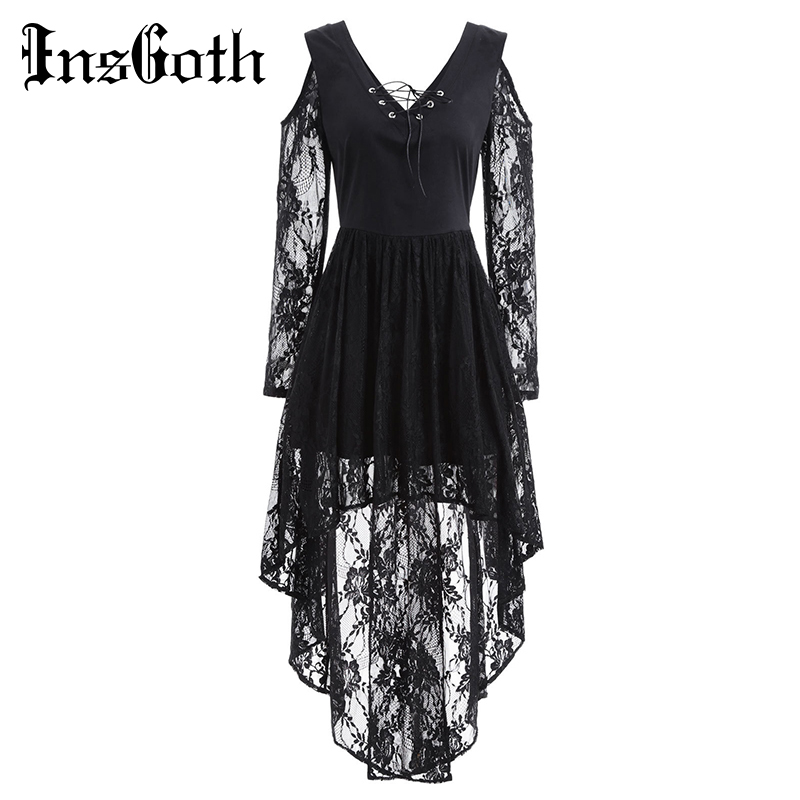 InsGoth Retro Black <font><b>Women</b></font> Dress <font><b>Gothic</b></font> <font><b>Halloween</b></font> Lace Hollow Out <font><b>Sexy</b></font> Party Female Dress Bandage Slim Long Sleeve Lady Dresses image