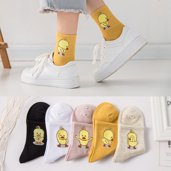 1 Pair of Comfortable and soft Womens Cotton socks Fashion Cartoon Embroidery Series Small Yellow Duck Pattern
