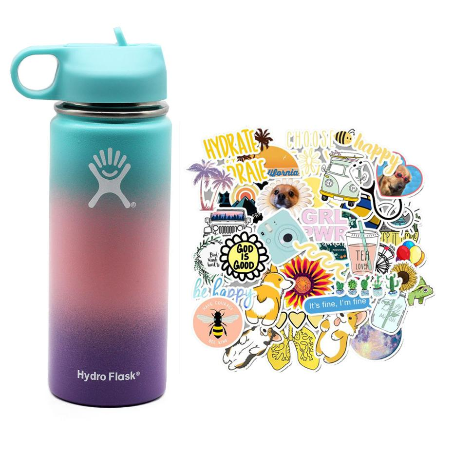 2020 New Hydro Flask Water Bottle with Straw Hydroflask Stainless Steel Water Bottles 18/32oz Outdoors Sports Drink Bottle 2