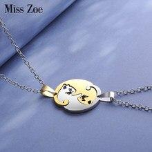 2 pièces/ensemble Yin Yang Tai Chi chats pendentif colliers 8 Styles rond coeur collier amitié BFF amoureux Couple anniversaire cadeau ami