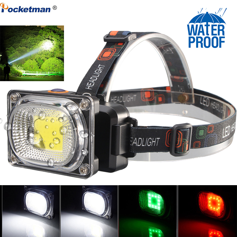 Powerful COB LED Headlight DC Rechargeable Headlamp 3Modes Waterproof Head Torch With 18650 Battery For Hunting Fishing