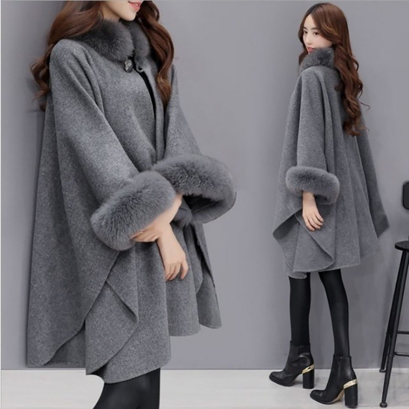Pregnant Woman Brand New Christmas Fashion Flare Sleeve Faux Fur Collar Winter Wool Cloak Cape Coat Poncho Long Overcoat