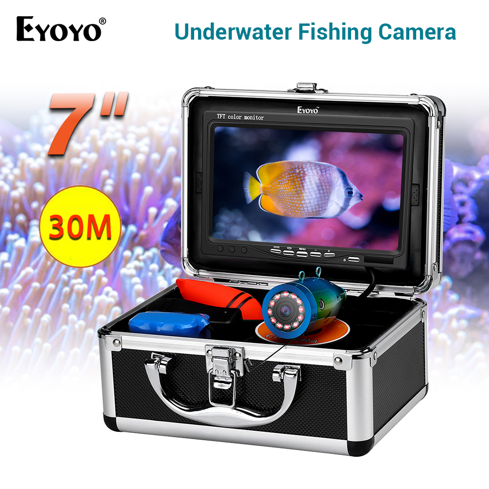 "EYOYO 7/"" TFT LCD Screen Fish Finder 12 LED Underwater 15M HD 1000TVL Camera IP68"