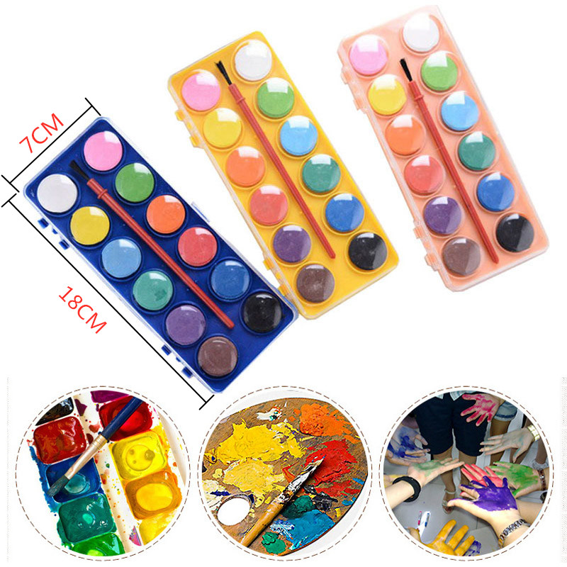 12 Colors Small Portable Solid Watercolor Pigment Children Painting Graffiti Watercolor Paints With Brush School Art Supplies