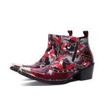 Red Pacthwork Mens Boots Casual High Heel Motorcycle Boots Gold Square Toe Leather Work Boots Rhinestone Zipper Shoes Winter