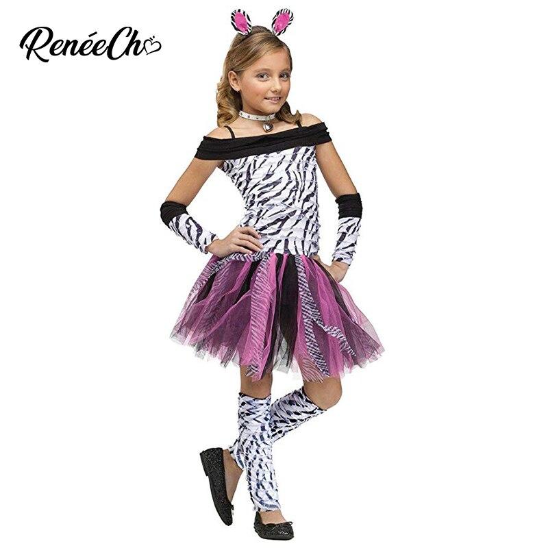 ReneeCho Children Animal Cosplay Zebra Dress Girls Halloween Costume For Kids Carnival Party Ruffle Toddler Dress Headband 2020